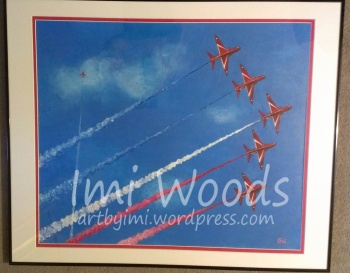 """I painted the red arrows for my boyfriends birthday present. It was mainly painted while on skype to him, under the guise of """"another puffin..."""""""