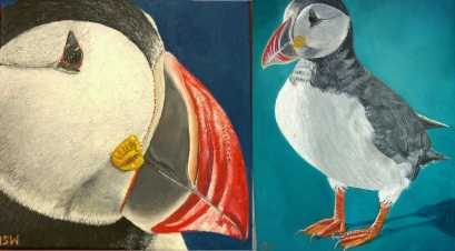 I painted some puffins in some stolen free time.
